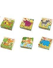 مكعب الاحاجي الخشبي ثلاثي الابعاد للاولاد للتعليم الاولي 6 في 1 - رسوم حيوانات - العاب تعليمية