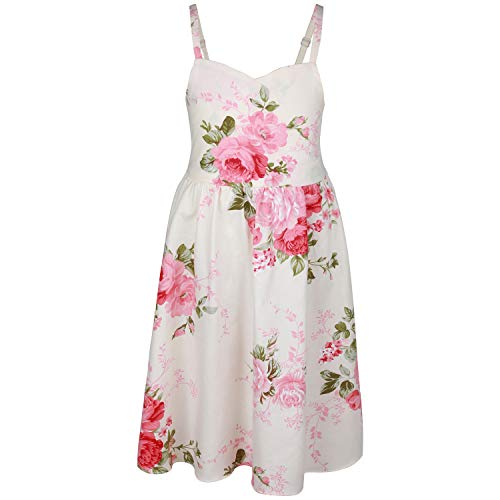 (Flofallzique Vintage Girls Easter Dress Floral Backless Wedding Party Sundress for 1-12 Years Old (4 Years Old, Cream)