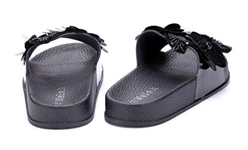 Schuhtempel24 Damen Schuhe Pantoletten Sandalen Sandaletten Flach Blumenapplikation/Ziersteine Schwarz