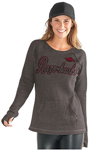 GIII For Her NCAA Arkansas Razorbacks Women's Off Season Pull Over, Small, Charcoal Grey