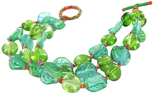 Toggle Bracelet Leaf - Linpeng 3 in 1 Women's Toggle Bracelet/Leaf Shaped & Green Glass Bead, 12 mm/Length Around 7.5
