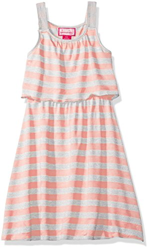 - Dream Star Girls' Big Lurex Stripe Popover Dress, Coral M/10-12