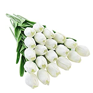 MARJON Flowers10pcs Real Touch Latex Artificial Tulips Flowers Fake Tulips Flowers Wedding Bouquets for Wedding Home Garden Decoration 93