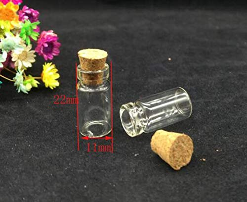 Goonpetchkrai.rapat Glass Jars Bottles with Cork Stoppers 500pcs 11x22mm Mini Glass Bottle Vials Empty Sample Weddings Decor Wish Bottle
