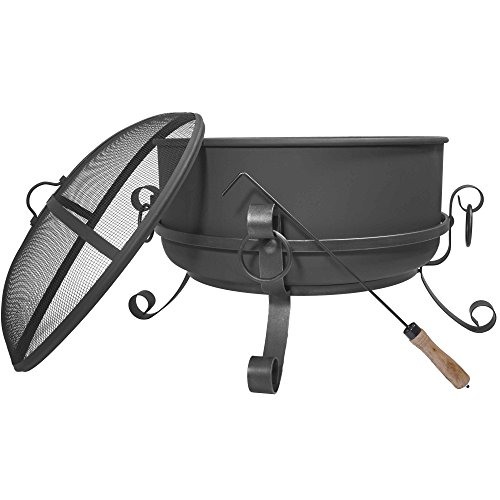 Titan 24 Inch Large Steel Cauldron Fire Pit with Spark Screen ()