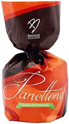 Bennati Panettone Tradizionale 750 Gr, Panettone Di Pasticceria Classico Con Canditi In Elegante Sacchetto, Confezione Natalizia – 750 g
