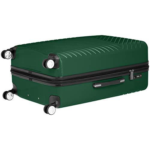 AmazonBasics Geometric Luggage Expandable Suitcase Spinner 28-Inch, Green