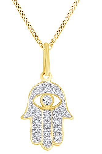 AFFY White Natural Diamond Hamsa Hand Evil Eye Charm Pendant Necklace in 14k Solid Yellow Gold (0.10 Ct)