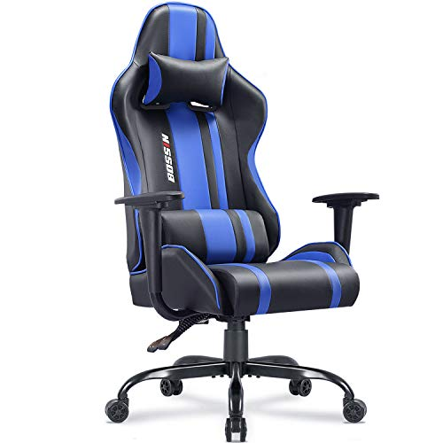 Gaming Chair Racing Style High-Back Computer Gaming Chairs Swivel Ergonomic Executive Office Leather Chair Video Gaming Chair(Blue)