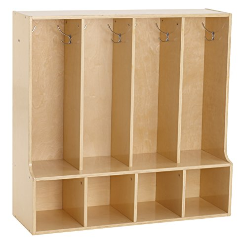 ECR4Kids Birch Streamline Classroom Locker with Bench | Hardwood Coat & Backpack Storage for Kids | 4-Section, Toddler (36