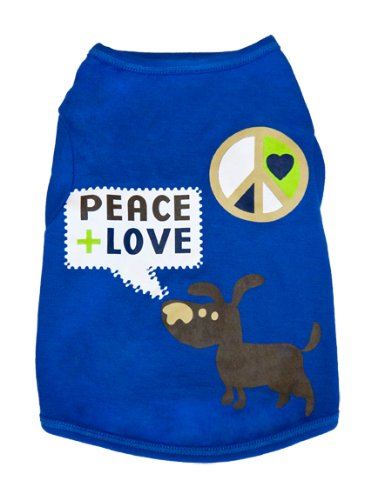 Waghearted 'Peace and Love' Dog Tee, Blue Combo, Extra Extra Small, My Pet Supplies