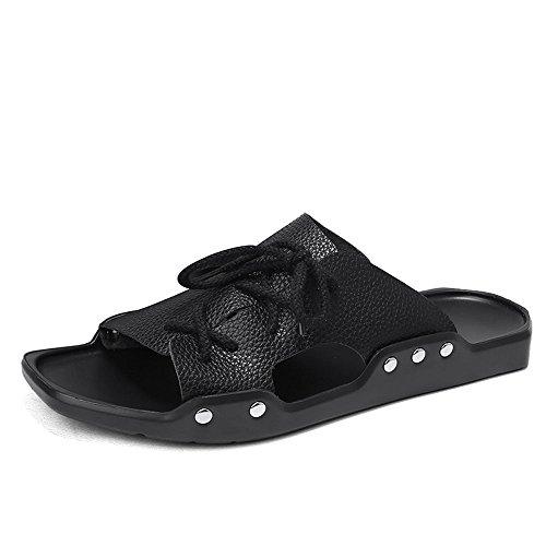 - CJZHE Men's Summer New Non-Slip Sandals Personalized Fashion Beach Slippers (10 B (M) US, Black-B)