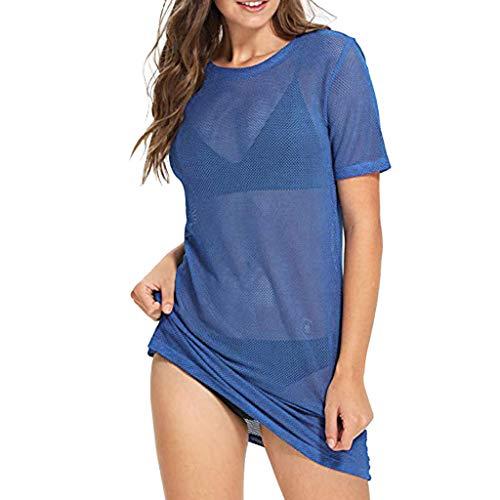 YKARITIANNA Women's Sexy Beach Cover Ups Short Sleeve See Through Sheer Mesh T Shirt -