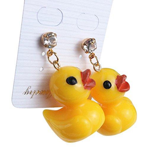 Polytree Cute Yellow Duck Drop Earrings Rhinestone Ear Stud for Women Girls Jewelry Gift]()
