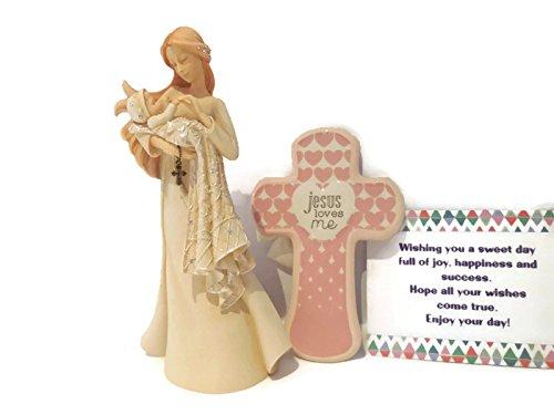 - Enesco Foundations Christening Figurine Bundle with Pink Cross Jesus Loves Me - Best Baptism, Christening, Confirmation, Child Dedication, Baby Shower Gifts for Girls