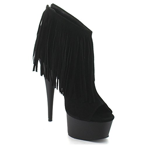 Bootie Matte Open Suede Women's Black 600 Delight Fringe Pleaser 19 Black Toe nw0gaxxBq