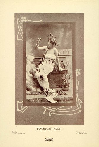 Costume Fruit Forbidden (1907 Print Art Nouveau Portrait Woman H. Goulton May Forbidden Fruit Costume - Original Halftone)