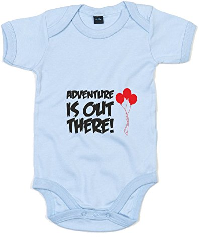 Adventure Is Out There, Printed Baby Grow - Dusty Blue/Black/Red 0-3 Months