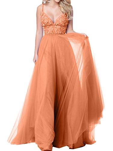 Abiballkleider Orange Traeger Abendkleider Linie Lang Promkleider Damen Spitze Charmant A Rosa Spaghetti Abschlussballkleider Tuell pHwgzxYOWn