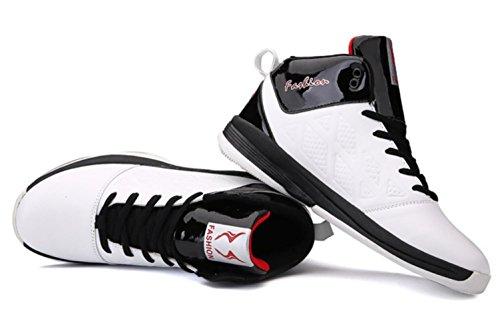 CSDM Uomo Basketball Anti-Skid Respirabile Studenti Scarpe Sportive Indossabile Boots Sneakers Scarpe da Tennis all'aperto in esecuzione , white , 43