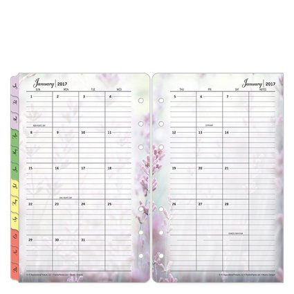 Compact Blooms Two Page Monthly Ring-bound Tabs - Jan 2017 - Dec 2017