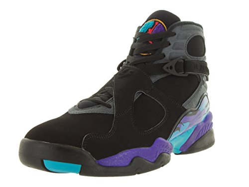 Nike Air Jordan Herren 8 Retro Basketballschuh Schwarz / Feuerstein Grau / Bright Concord / True Red