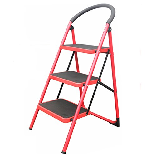 Step Ladders WSSF- 3 Compact Heavy Duty Steel Tube Ladder Stool With Handle Grip Anti-skid Tread Safety Folding Stepladder Kitchen & Garden Tool DIY Stair Chair (Color : Red)