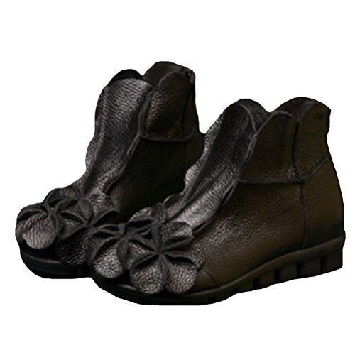 Vogstyle Women New Casual Flower Handmade Leather Ankle Boots Style 1-black Flower sjkJXf1I