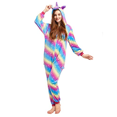 NOUSION Licorne Unisex Adult Pajamas, Cosplay Christmas Unicorn Sleepwear Onesies Outfit (L, Rainbow Galaxy)