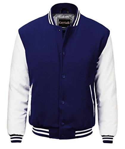 Guytalk Men's Letterman Style Premium Thick Fabric Varsity Baseball Jacket Medium Navy white