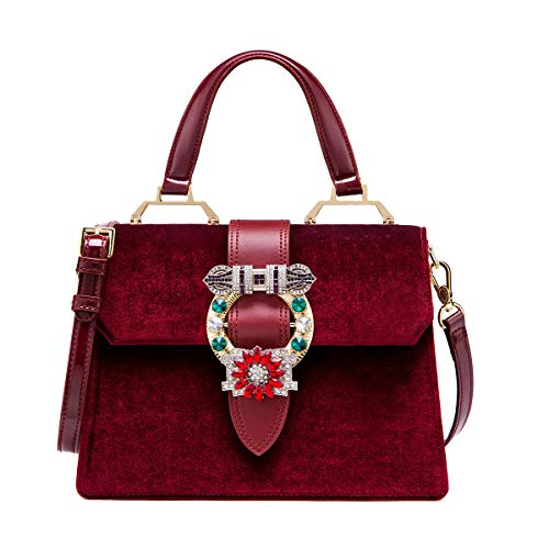 Jewel Modern Vintage Womens - LA'FESTIN Vintage Burgundy Bags for Women Velvet Leather Shoulder Purses with Jewels Red