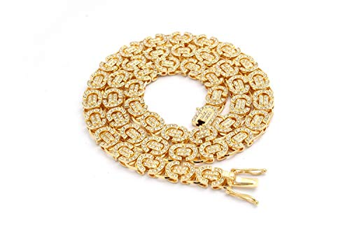 (Best Collection- 14k Gold Plated Iced Out 9mm Byzantine Chain-Mens Hip Hop Necklace (Gold,)