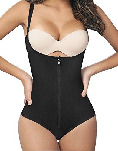bf4aa5e1ae7 Camellias Women s Seamless Firm Control Shapewear Faja Open Bust Bodysuit  Body Shaper Black