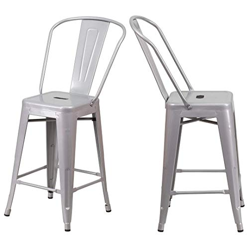 - KLS14 Modern Vintage Style Premium Metal Construction Indoor-Outdoor Bar Stool Curved Backrest Vertical Slat Design Counter Height Side Chair Home Office Decor Furniture - Set of 2 Silver #2023