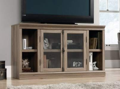 Amazon Com Tv Stand For 60 Inch Tv Salt Oak Wood With Cabinet And