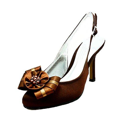 de de de rosetas Damas Brown zapatos satén dama cuentas honor de con H6qFpxA