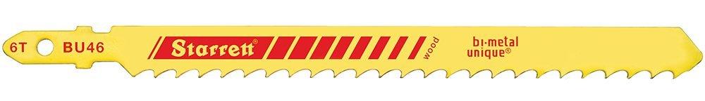 Starrett BU46-100 Bi-Metal Unique Unified Shank Wood Cutting Jig Saw Blade, Skip Tooth, 0.050'' Thick, 6 TPI, 5'' Length x 3/8'' Width (Pack of 100)