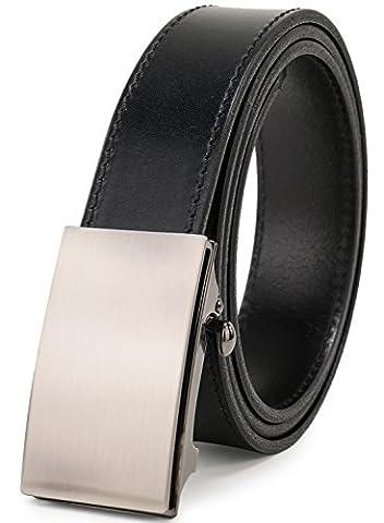 Beltox Men's Top Grain Bridle Leather Dress Belt No Ratchet Automatic Buckle (Silver - Mens Bridle