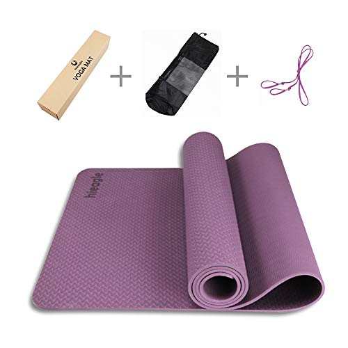 "Hieagle 1/4 inch Thick TPE Yoga Mat Non-Slip Anti-Tear Durable Reversible with Carrying Strap 72""x24"" (Purple)"