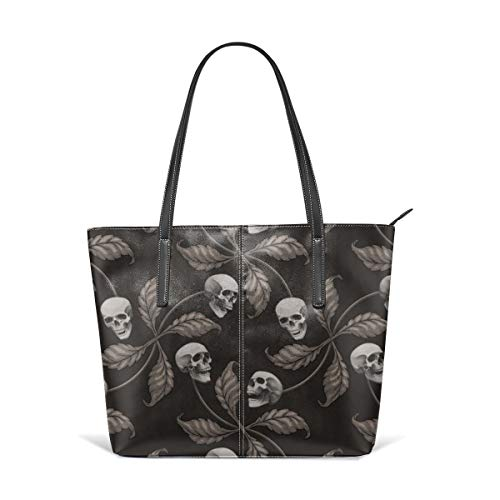 (Women's Soft Leather Tote Shoulder Bag BLACK AND WHITE CHERRY SKULL Large Scale Collection Cherry Skull Rock 'n' Roll Old School Tattoo Print Fashion Handbags Satchel Purse)