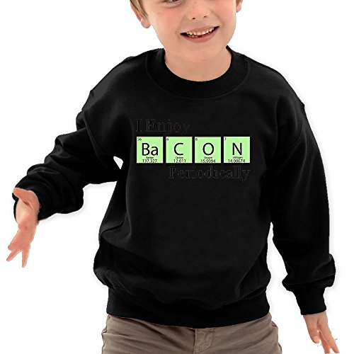 Price comparison product image Puppylol I Enjoy Bacon Periodically Kids Classic Crew-neck Pullover Hoodie Black 4 Toddler