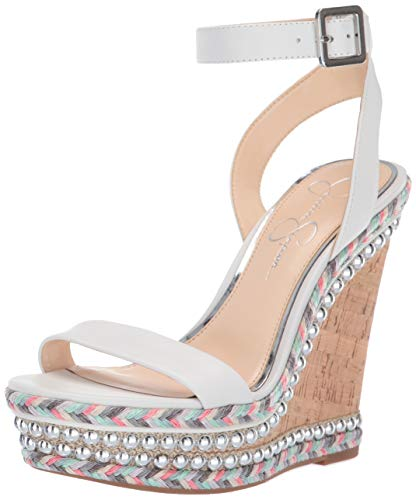 Jessica Simpson Women's ALINDA Wedge Sandal, Bright White, 8.5 M US