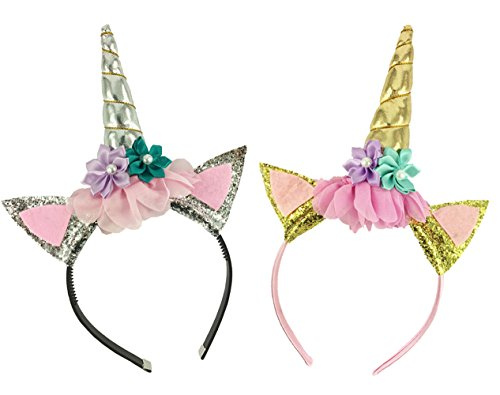 2 Pack Unicorn Horn Headband Flowers Ears Headbands for Party Decoration or Cosplay Costume (Silver+Gold) ()