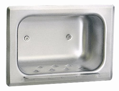 Bobrick 4380 304 Stainless Steel Recessed Heavy-Duty Soap Dish, Matte Polished Finish, 7-3/16