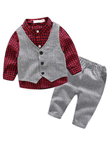 Abolai Baby Boys' 3 Piece Vest Set with Shirt,Vest and Pant Style2 Red -