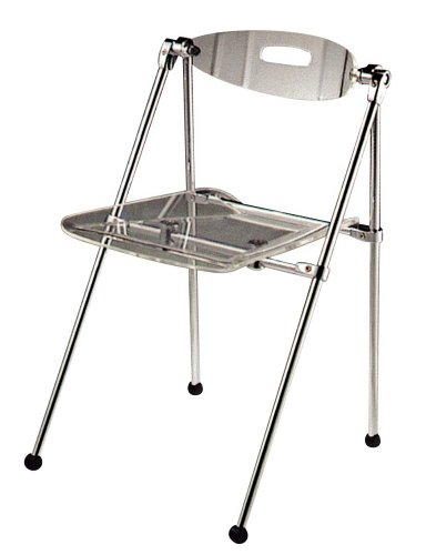 Set of Two Clear Acrylic Telescoping Chairs