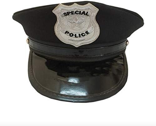 thematys Gorra de policía en Negro - Gorra de policía para Adultos ...