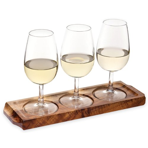 drinkstuff Utopia Acacia Wood Wine Flight with Wine Glasses | Wine Glass Paddle, Wine Tasting Set