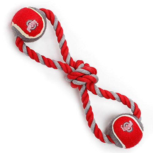 Pet Goods Manufacturing Ohio State Buckeyes Double Ball with Dog Toy Rope