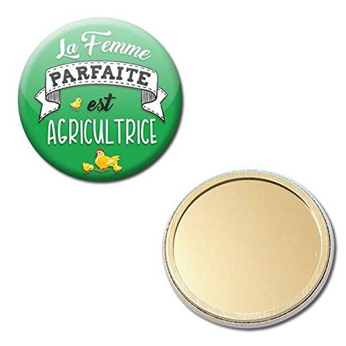 la Femme parfaite est agricultrice Miroir de poche 56mm ( Idée Cadeau Femme Saint Valentin Remerciement Noël Anniversaire )